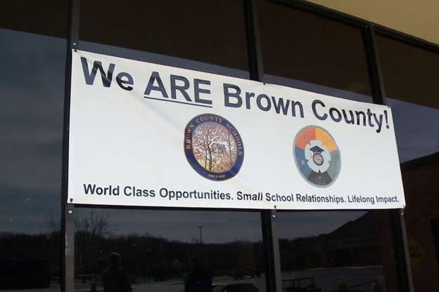 Banner outside Brown Co. High School
