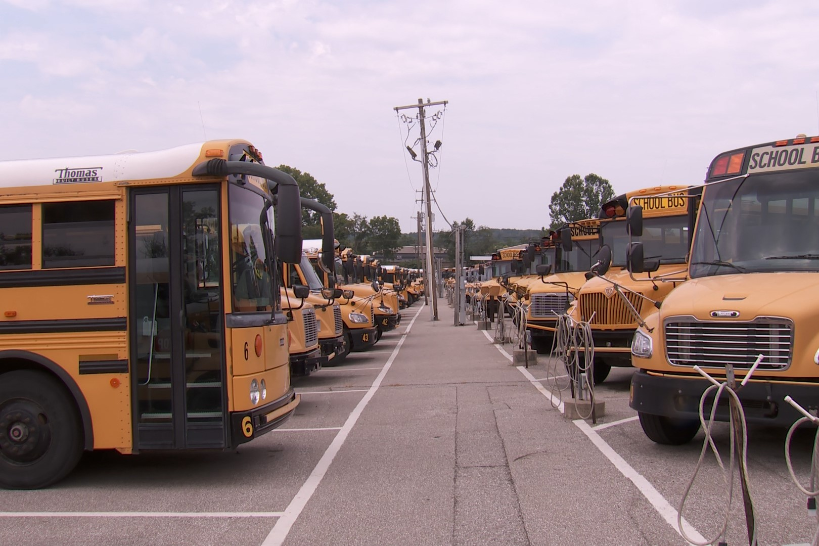 A photo of a cluster of MCCSC buses.